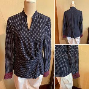 ANNE KLEIN blouse faux wrap polka dot Size 10
